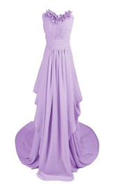 Floral Drapped Chiffon A-line Gown With Chapel Train