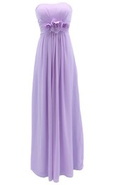 Graceful Strapless Chiffon A-line Gown With Flowers