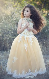 Flower Girl Beading Neck Tulle Ball Gown With Lace
