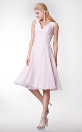 Simple Style V-neck A-line Tea Length Dress