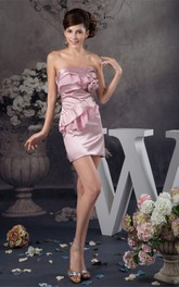Strapless Short Satin Draping and Dress With Flower