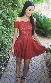 A-line Sleeveless Lace Off-the-shoulder Zipper Short Mini Homecoming Dress