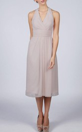 Halter V Neck A-line Chiffon Tea Length Dress Silver