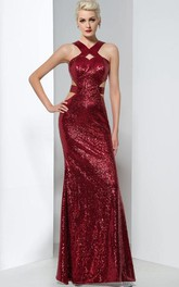 Sheath Sequins Hollow Floor-Length Evening Dress