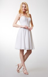 Sweetheart Pleated A-line Short Chiffon Dress With Lace Bodice