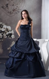 Sleeveless Ruffled Pick-Up Floral Strap and Ball-Gown With Ruching