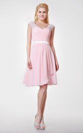 V-neck Knee Length Chiffon Side-draped Dress With Sash