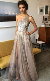 A-Line Tulle Sequins One-shoulder Sleeveless Zipper Dress
