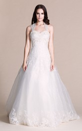 Sleeveless Halter Style Lace and Tulle Ball Gown