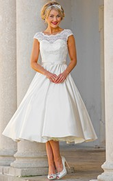Tea-Length A-Line Cap Sleeve Lace Scoop Neck Satin Wedding Dress