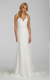 Sexy V Neckline Long Chiffon Dress With Beaded Embroidery