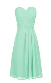 Sweetheart Ruched A-line Gown With Zipper Back