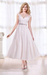 Tea Length A-line Wedding Dress with Sash
