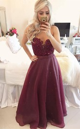 Modern A-line Beadings Burgundy Prom Dress 2018 Zipper Button Back