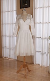 V Neck 3 4 Length Sleeve Chiffon Wedding Dress With Ruching And Illusion Back