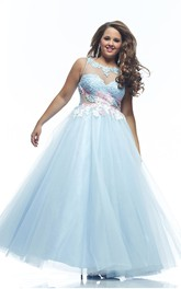 A-line Floor-length Bateau Sleeveless Tulle Appliques Pleats Illusion Dress