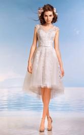 A-Line Knee-Length V-Neck Cap-Sleeve Illusion Lace Dress With Appliques And Pleats