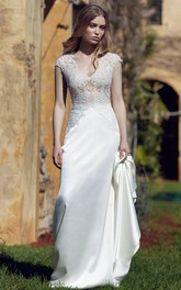 Sheath V-Neck Long Cap-Sleeve Chiffon Wedding Dress With Appliques And V Back
