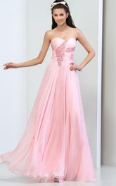 Sweetheart Beaded Pleats Long Prom Dress