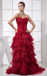 Flamboyant Ruched Sweetheart Brush Train and Dress With Tiers