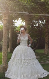 Elegant Tulle Lace Appliques Illusion Wedding Dress 2018 Ball Gown Zipper