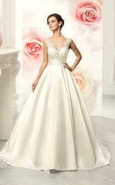 A-Line Floor-Length Scoop Sleeveless Deep-V-Back Satin Dress With Appliques