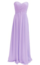 Elegant Strapless Sweetheart Ruched Chiffon A-line Gown