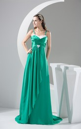 Spaghetti-Straps Floor-Length Chiffon Broach and Dress With Pleats