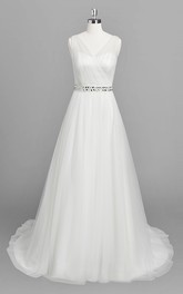 V-neck Sleeveless A-line Tulle Wedding Dress With Beaded Waist