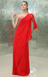 Graceful One-Shoulder A-Line Chiffon Gown With Sequins and Side Drap