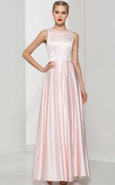Scoop Neck Ruffles Pink Prom Dress