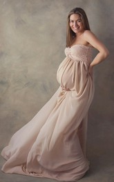 Chiffon Lace A-line Sleeveless Sweetheart Maternity Dress