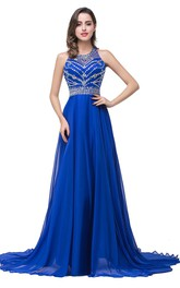 Newest Royal Blue Chiffon 2018 Prom Dress A-line Beadings Sweep Train