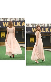 A-line Floor-length Halter sleeveless Chiffon Pleats Dress