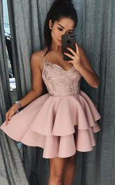 A-line Sleeveless Satin Lace Spaghetti Short Mini Homecoming Dress