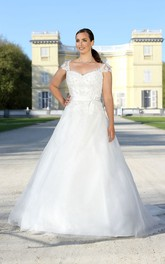 A-Line Floor-Length V-Neck Cap Satin Bow Appliques Sweep Train Illusion Bow Dress