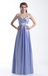 Criss-Cross Pleated Maxi Dress With Halter