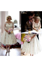 Plus Size Lace Scoop Illusion Half Long Sleeve Tea Length Wedding Dress