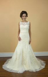 Mermaid Lace Sleeveless Bateau Neck Dress With Beadings and Illusion Back