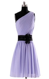 One-shoulder Pleated Chiffon Short Dress With Floral Band