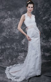 Gracious Cap-sleeved Column Lace Dress with Queen Anne Neckline and Satin Sash