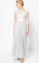 Ankle-Length Appliqued Bateau Neck Half Sleeve Tulle Bridesmaid Dress