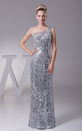 One-Shoulder Maxi Sheath Dress With Sequins