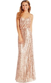 Sheath Sleeveless Spaghetti Sequin Muti-Color Convertible Bridesmaid Dress With Low-V Back