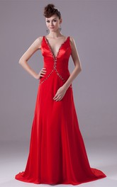Deep-V-Neck Chiffon Floor-Length Sleeveless Ruching and Dress With Beading