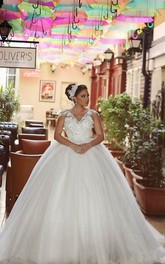 Delicate Tulle Lace Flowers 2018 Wedding Dress Ball Gown Cap Sleeve Plus Size