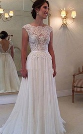 Chiffon Long Lace Open Back Wedding Dress Sleeveless Elegant