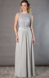 Jewel Neck Cap Sleeve Lace Top Chiffon Long Mother Of The Bride Dress With Crystal Waist