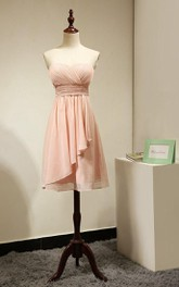 Backless Sweetheart Side Dropped A-line Chiffon Short Dress Peach