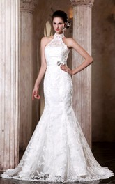 Elegant Sleeveless Mermaid Embroidery Dress With Bowed Sash